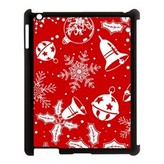 Red Winter Holiday Pattern Red Christmas Apple Ipad 3/4 Case (black) by AnjaniArt