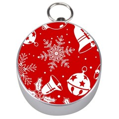 Red Winter Holiday Pattern Red Christmas Silver Compasses by AnjaniArt
