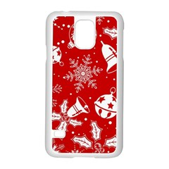 Red Winter Holiday Pattern Red Christmas Samsung Galaxy S5 Case (white) by AnjaniArt