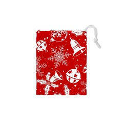 Red Winter Holiday Pattern Red Christmas Drawstring Pouches (xs)  by AnjaniArt