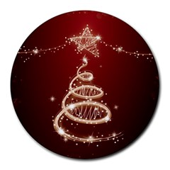 Shiny Christmas Tree Round Mousepads by AnjaniArt