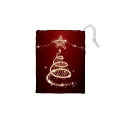 Shiny Christmas Tree Drawstring Pouches (xs)  by AnjaniArt