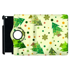 Tree Merry Christmas Snowflake Pattern Apple Ipad 2 Flip 360 Case by AnjaniArt