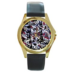 Decorative Abstract Floral Desing Round Gold Metal Watch by Valentinaart
