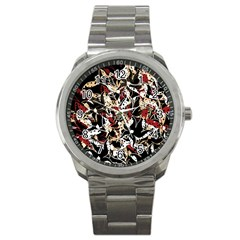 Abstract Floral Design Sport Metal Watch by Valentinaart