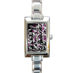 Purple Abstract Flowers Rectangle Italian Charm Watch by Valentinaart