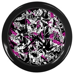 Purple Abstract Flowers Wall Clocks (black) by Valentinaart