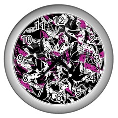 Purple Abstract Flowers Wall Clocks (silver)  by Valentinaart