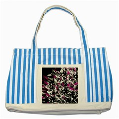 Purple Abstract Flowers Striped Blue Tote Bag by Valentinaart