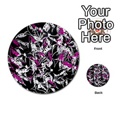 Purple Abstract Flowers Multi Purpose Cards (round)  by Valentinaart