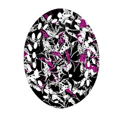 Purple Abstract Flowers Ornament (oval Filigree)  by Valentinaart