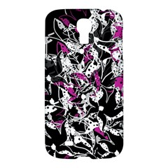 Purple Abstract Flowers Samsung Galaxy S4 I9500/i9505 Hardshell Case by Valentinaart