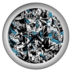 Blue Abstract Flowers Wall Clocks (silver)  by Valentinaart