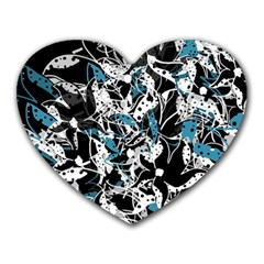 Blue Abstract Flowers Heart Mousepads by Valentinaart