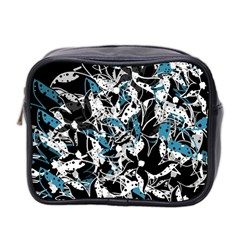 Blue Abstract Flowers Mini Toiletries Bag 2 Side by Valentinaart