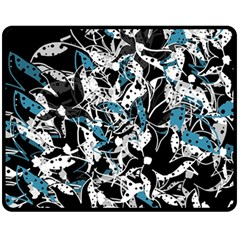 Blue Abstract Flowers Fleece Blanket (medium)  by Valentinaart