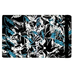 Blue Abstract Flowers Apple Ipad 2 Flip Case by Valentinaart