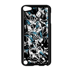 Blue Abstract Flowers Apple Ipod Touch 5 Case (black) by Valentinaart