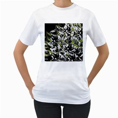 Green floral abstraction Women s T-Shirt (White) (Two Sided)