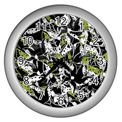 Green Floral Abstraction Wall Clocks (silver)  by Valentinaart