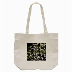 Green Floral Abstraction Tote Bag (cream) by Valentinaart