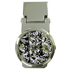 Green Floral Abstraction Money Clip Watches by Valentinaart