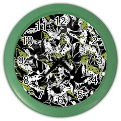 Green Floral Abstraction Color Wall Clocks by Valentinaart