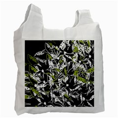 Green Floral Abstraction Recycle Bag (one Side) by Valentinaart