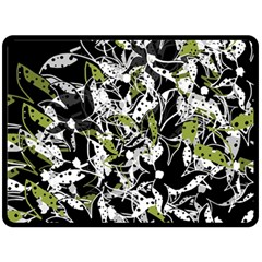 Green Floral Abstraction Fleece Blanket (large)  by Valentinaart