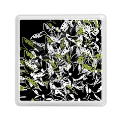 Green Floral Abstraction Memory Card Reader (square)  by Valentinaart