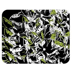 Green Floral Abstraction Double Sided Flano Blanket (medium)  by Valentinaart