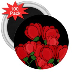 Red Tulips 3  Magnets (100 Pack) by Valentinaart