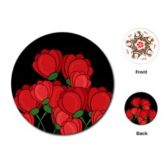 Red Tulips Playing Cards (round)  by Valentinaart