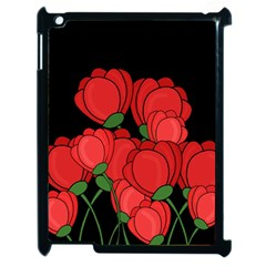 Red Tulips Apple Ipad 2 Case (black) by Valentinaart