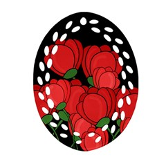 Red Tulips Oval Filigree Ornament (2 Side)  by Valentinaart