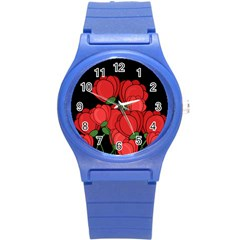 Red Tulips Round Plastic Sport Watch (s) by Valentinaart