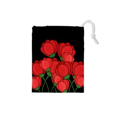 Red Tulips Drawstring Pouches (small)  by Valentinaart