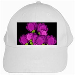 Purple Tulips White Cap by Valentinaart