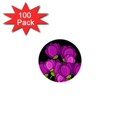 Purple Tulips 1  Mini Buttons (100 Pack)  by Valentinaart