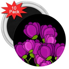 Purple Tulips 3  Magnets (10 Pack)  by Valentinaart
