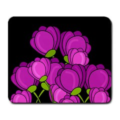 Purple Tulips Large Mousepads by Valentinaart