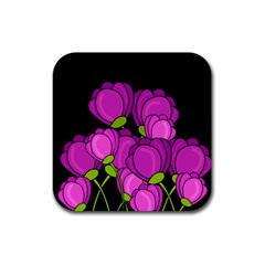 Purple Tulips Rubber Square Coaster (4 Pack)  by Valentinaart