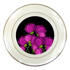 Purple Tulips Porcelain Plates by Valentinaart