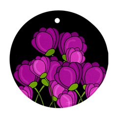 Purple Tulips Round Ornament (two Sides)  by Valentinaart