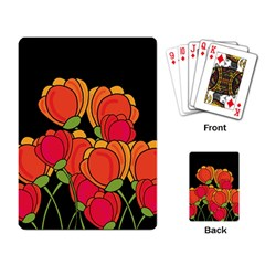 Orange Tulips Playing Card by Valentinaart