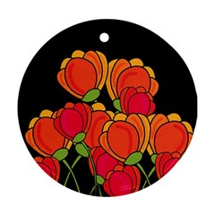 Orange Tulips Round Ornament (two Sides)  by Valentinaart