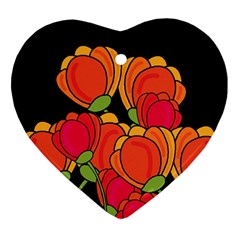 Orange Tulips Heart Ornament (2 Sides) by Valentinaart
