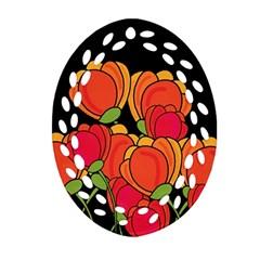Orange Tulips Oval Filigree Ornament (2 Side)  by Valentinaart
