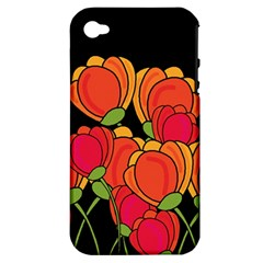 Orange Tulips Apple Iphone 4/4s Hardshell Case (pc+silicone) by Valentinaart