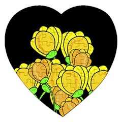 Yellow Tulips Jigsaw Puzzle (heart) by Valentinaart